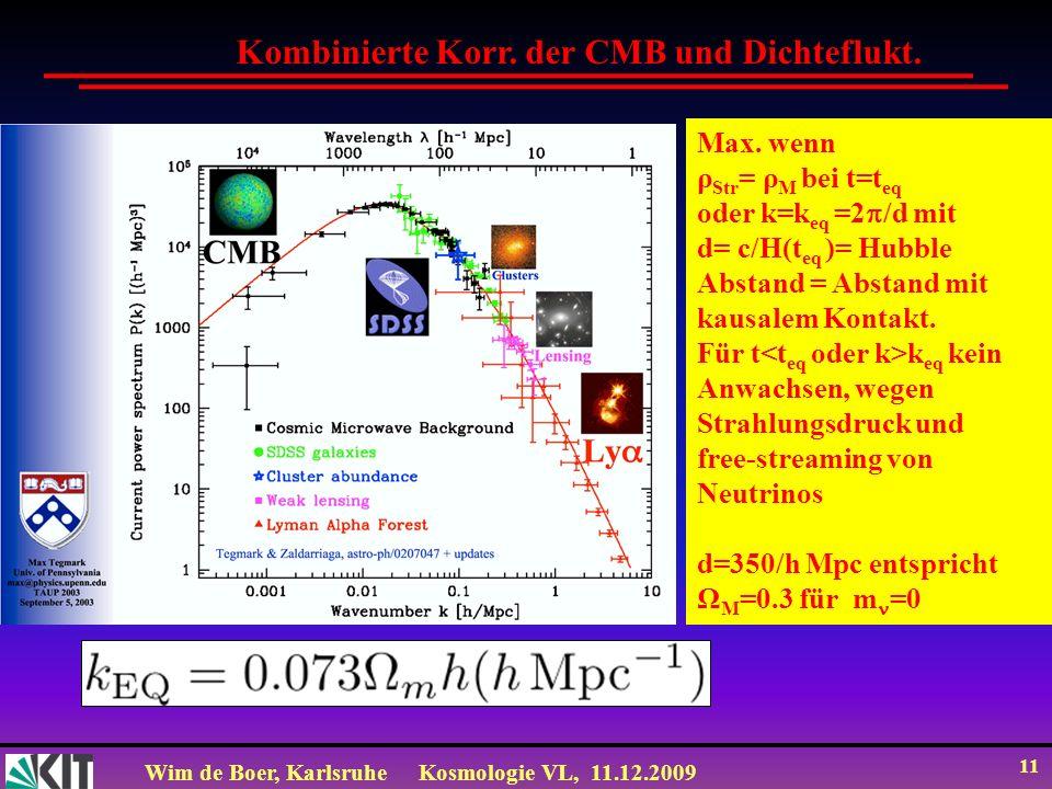 Wim de Boer, KarlsruheKosmologie VL, 11.12.2009 11 Kombinierte Korr. der CMB und Dichteflukt. Max. wenn ρ Str = ρ M bei t=t eq oder k=k eq =2 /d mit d