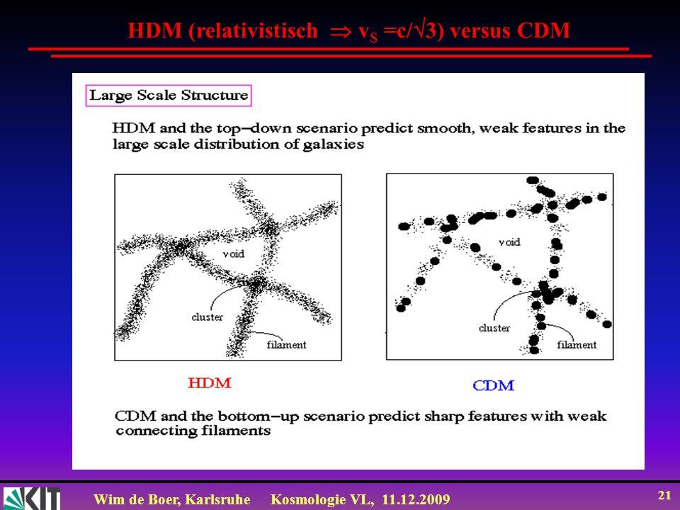 Wim de Boer, KarlsruheKosmologie VL, 11.12.2009 21 HDM (relativistisch v S =c/ 3) versus CDM