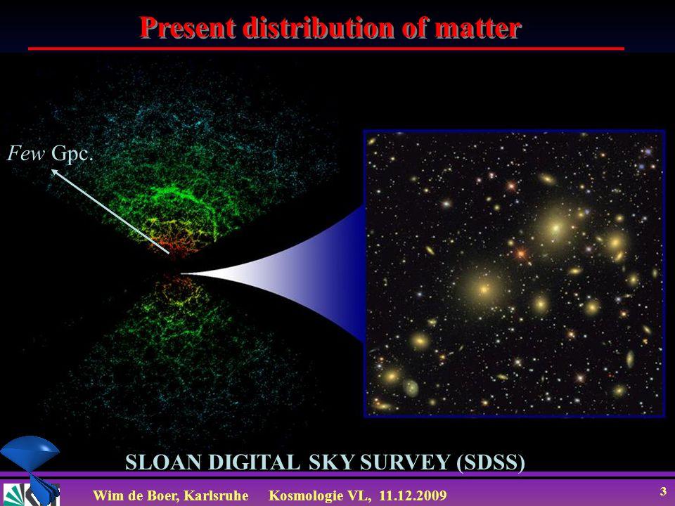 Wim de Boer, KarlsruheKosmologie VL, 11.12.2009 24 Transfer Function (beschreibt wie Fluktuationen zum Zeitpunkt der Rekombination heute beobachtbar sind Baryons Log k Log T k CDM MDM HDM Small scales Large scales Hot Dark Matter: freestreaming mit relativ.