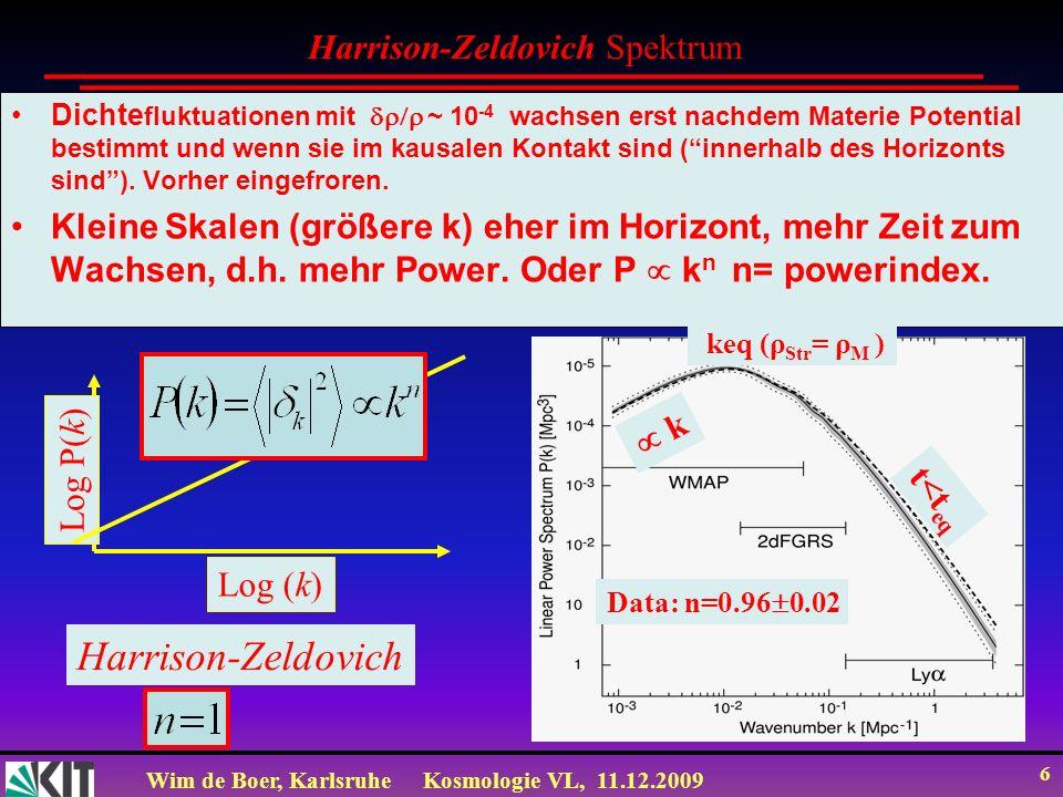 Wim de Boer, KarlsruheKosmologie VL, 11.12.2009 6 Dichte fluktuationen mit ~ 10 -4 wachsen erst nachdem Materie Potential bestimmt und wenn sie im kausalen Kontakt sind (innerhalb des Horizonts sind).