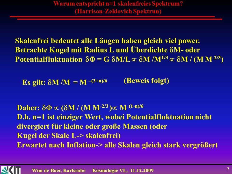 Wim de Boer, KarlsruheKosmologie VL, 11.12.2009 18 Kriterium für Gravitationskollaps: Jeans Masse und Jeans Länge Gravitationskollaps einer Dichtefluktuation, wenn Expansionsrate 1/t Exp H G langsamer als die Kontraktionsrate 1/t Kon v S / λ J ist.