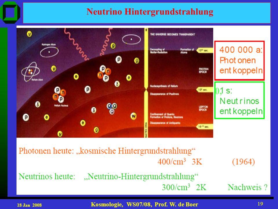 18 Jan 2008 Kosmologie, WS07/08, Prof. W. de Boer 19 Neutrino Hintergrundstrahlung 0,