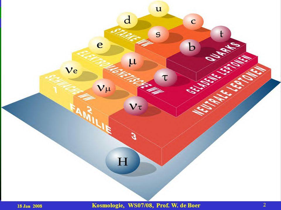 18 Jan 2008 Kosmologie, WS07/08, Prof. W. de Boer 2
