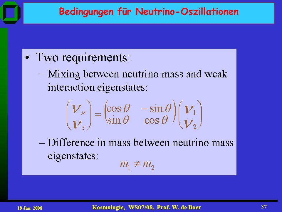 18 Jan 2008 Kosmologie, WS07/08, Prof. W. de Boer 37 Bedingungen für Neutrino-Oszillationen