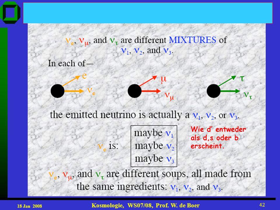 18 Jan 2008 Kosmologie, WS07/08, Prof. W. de Boer 42 Wie d entweder als d,s oder b erscheint.