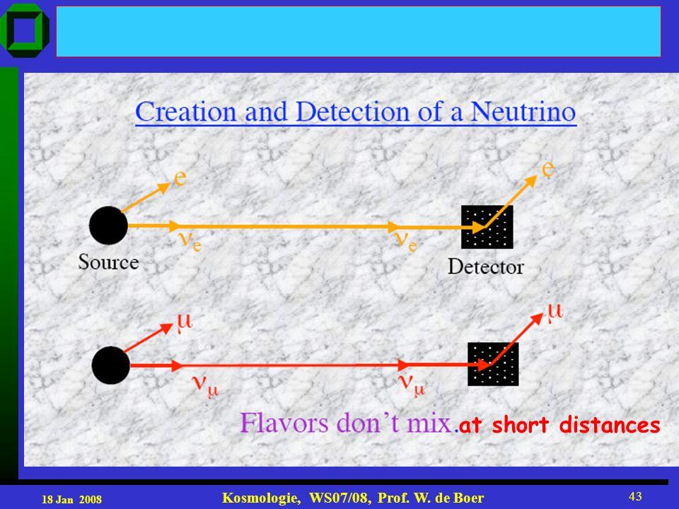 18 Jan 2008 Kosmologie, WS07/08, Prof. W. de Boer 43 at short distances