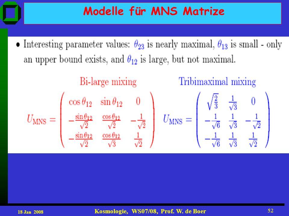 18 Jan 2008 Kosmologie, WS07/08, Prof. W. de Boer 52 Modelle für MNS Matrize