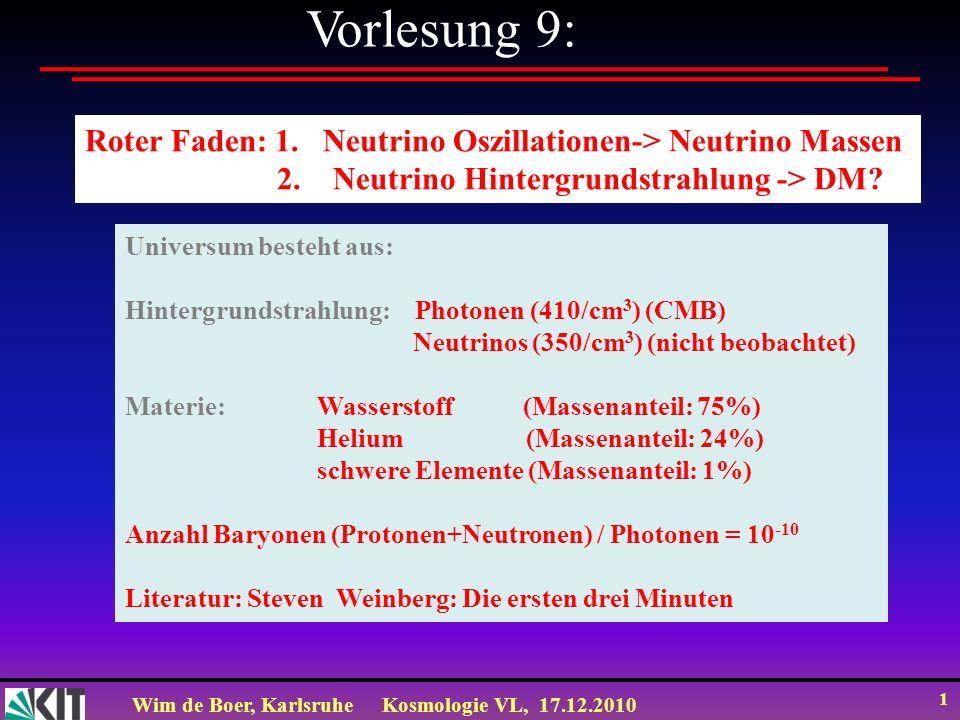 Wim de Boer, KarlsruheKosmologie VL, 17.12.2010 1 Vorlesung 9: Roter Faden: 1.
