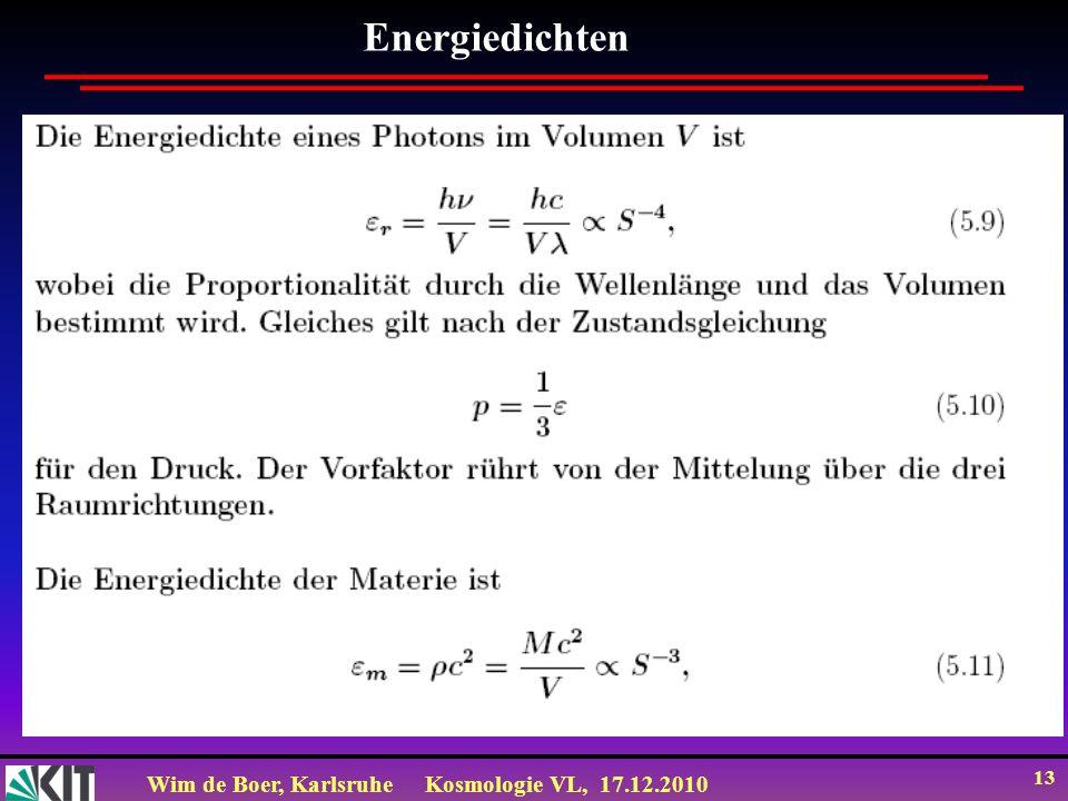 Wim de Boer, KarlsruheKosmologie VL, 17.12.2010 13 Energiedichten