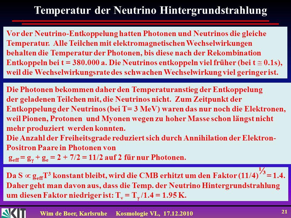 Wim de Boer, KarlsruheKosmologie VL, 17.12.2010 21 Temperatur der Neutrino Hintergrundstrahlung Die Photonen bekommen daher den Temperaturanstieg der Entkoppelung der geladenen Teilchen mit, die Neutrinos nicht.
