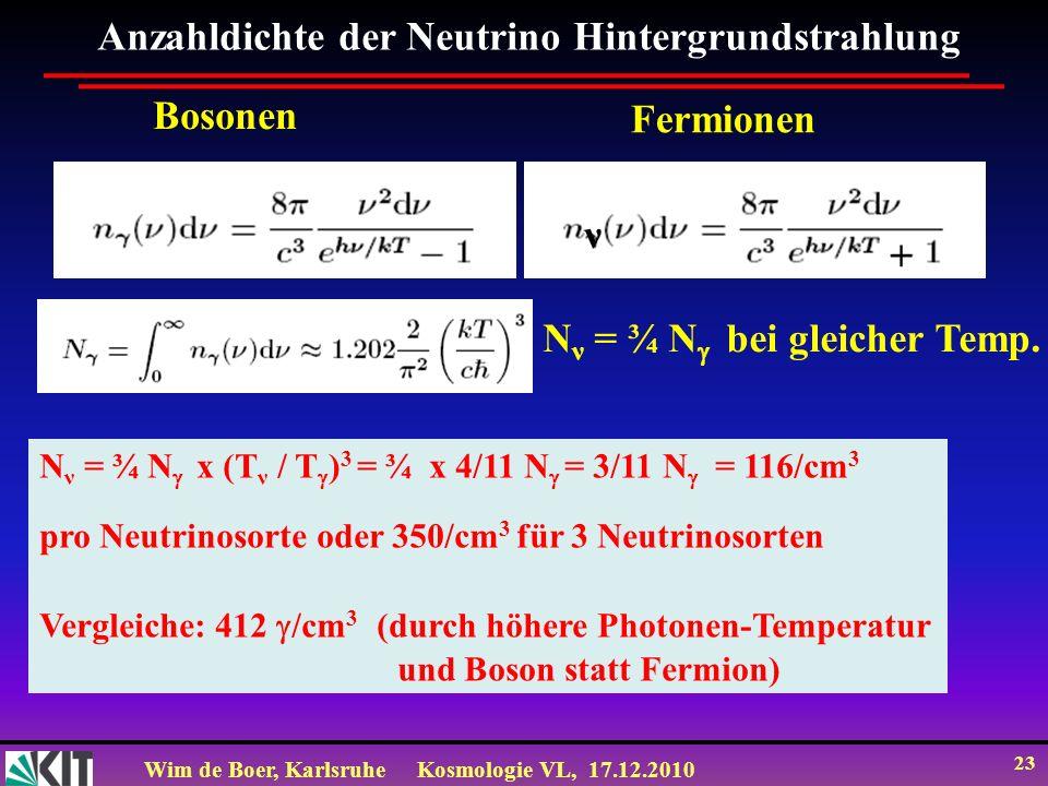 Wim de Boer, KarlsruheKosmologie VL, 17.12.2010 23 Anzahldichte der Neutrino Hintergrundstrahlung Bosonen Fermionen + ν N ν = ¾ N bei gleicher Temp.