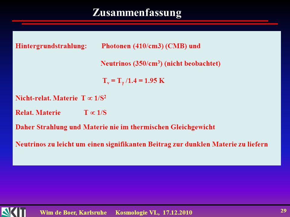 Wim de Boer, KarlsruheKosmologie VL, 17.12.2010 29 Hintergrundstrahlung: Photonen (410/cm3) (CMB) und Neutrinos (350/cm 3 ) (nicht beobachtet) T ν = T /1.4 = 1.95 K Nicht-relat.