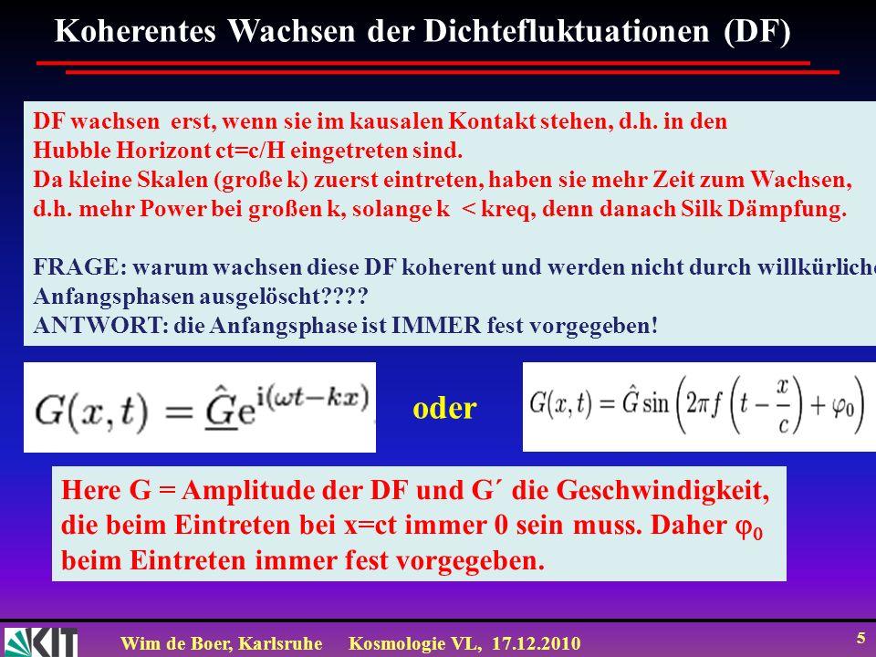 Wim de Boer, KarlsruheKosmologie VL, 17.12.2010 5 Koherentes Wachsen der Dichtefluktuationen (DF) DF wachsen erst, wenn sie im kausalen Kontakt stehen, d.h.