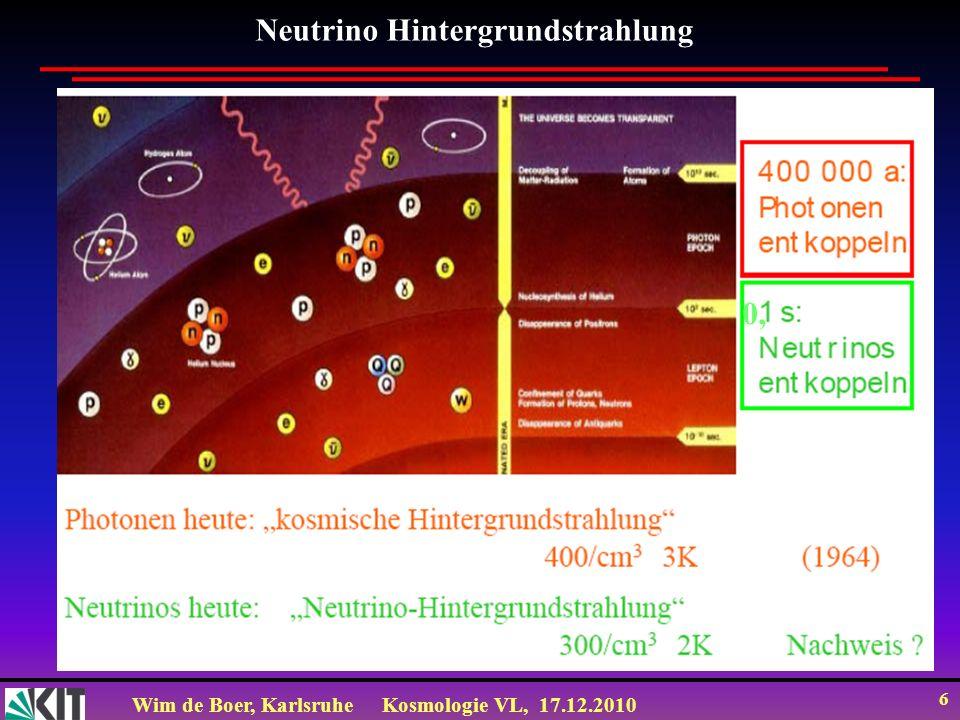 Wim de Boer, KarlsruheKosmologie VL, 17.12.2010 6 Neutrino Hintergrundstrahlung 0,