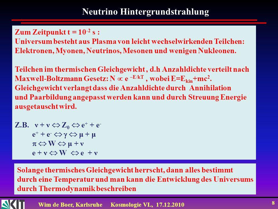 Wim de Boer, KarlsruheKosmologie VL, 17.12.2010 8 Neutrino Hintergrundstrahlung Zum Zeitpunkt t = 10 -2 s : Universum besteht aus Plasma von leicht wechselwirkenden Teilchen: Elektronen, Myonen, Neutrinos, Mesonen und wenigen Nukleonen.