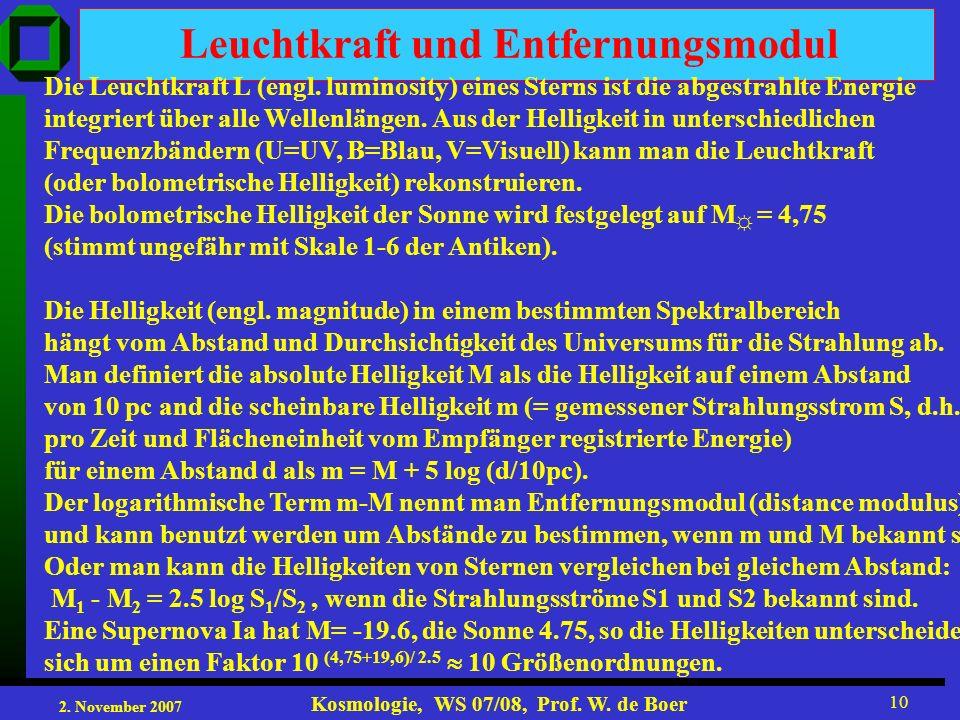2. November 2007 Kosmologie, WS 07/08, Prof. W. de Boer 10 Leuchtkraft und Entfernungsmodul Die Leuchtkraft L (engl. luminosity) eines Sterns ist die