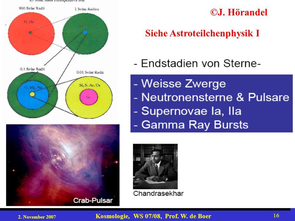 2. November 2007 Kosmologie, WS 07/08, Prof. W. de Boer 16 ©J. Hörandel Siehe Astroteilchenphysik I