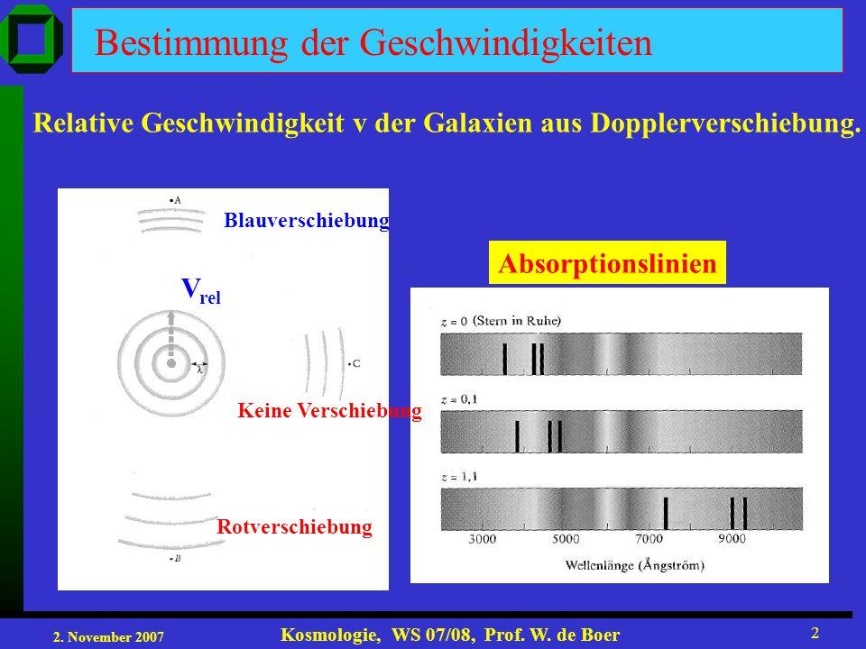 2. November 2007 Kosmologie, WS 07/08, Prof. W. de Boer 2 Bestimmung der Geschwindigkeiten Relative Geschwindigkeit v der Galaxien aus Dopplerverschie
