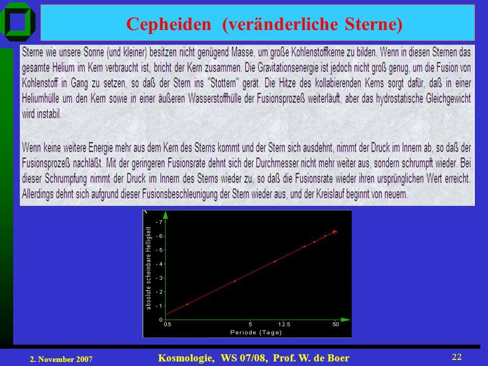 2. November 2007 Kosmologie, WS 07/08, Prof. W. de Boer 22 Cepheiden (veränderliche Sterne)