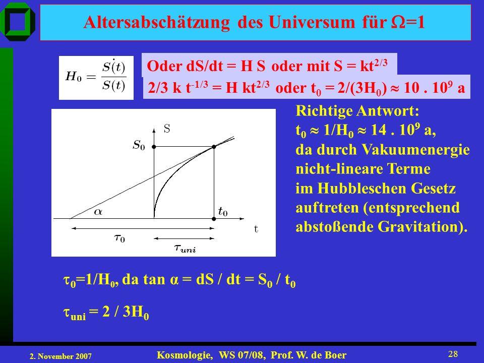 2. November 2007 Kosmologie, WS 07/08, Prof. W. de Boer 28 Altersabschätzung des Universum für =1 Oder dS/dt = H S oder mit S = kt 2/3 2/3 k t -1/3 =