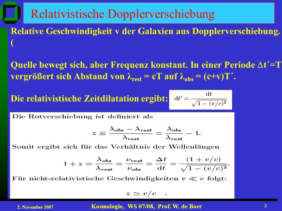 2. November 2007 Kosmologie, WS 07/08, Prof. W. de Boer 3 Relativistische Dopplerverschiebung Relative Geschwindigkeit v der Galaxien aus Dopplerversc