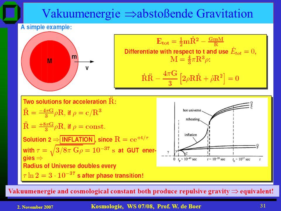 2. November 2007 Kosmologie, WS 07/08, Prof. W. de Boer 31 Vakuumenergie abstoßende Gravitation Vakuumenergie and cosmological constant both produce r