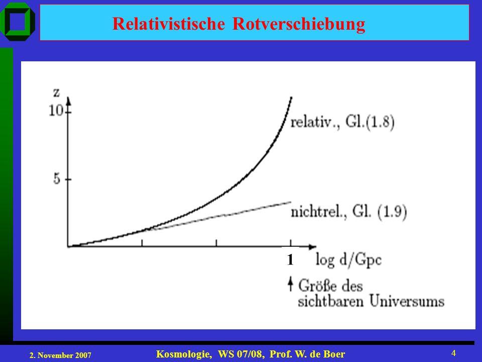 2. November 2007 Kosmologie, WS 07/08, Prof. W. de Boer 25