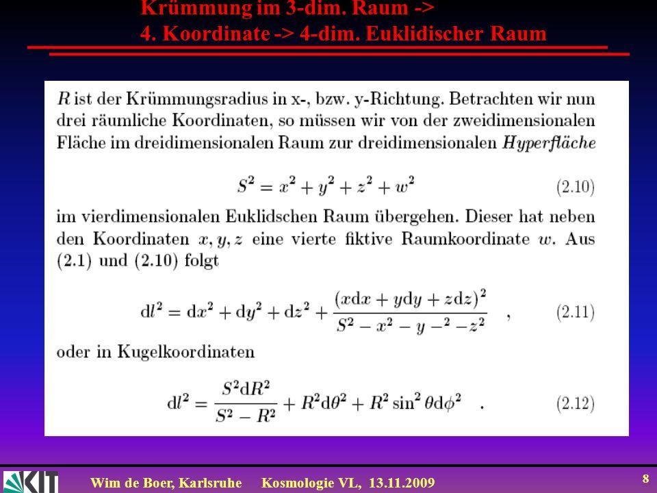 Wim de Boer, KarlsruheKosmologie VL, 13.11.2009 8 Krümmung im 3-dim. Raum -> 4. Koordinate -> 4-dim. Euklidischer Raum