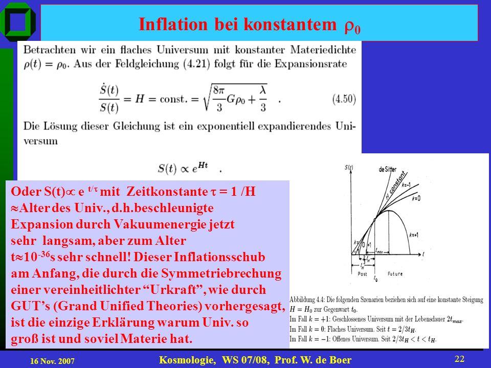 16 Nov. 2007 Kosmologie, WS 07/08, Prof. W. de Boer 22 Inflation bei konstantem 0 Oder S(t) e t/ mit Zeitkonstante = 1 /H Alter des Univ., d.h.beschle
