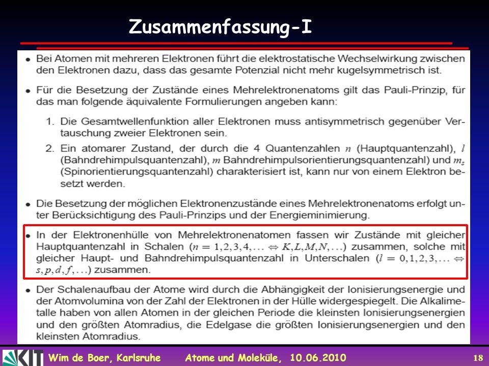 Wim de Boer, Karlsruhe Atome und Moleküle, 10.06.2010 18 Zusammenfassung-I