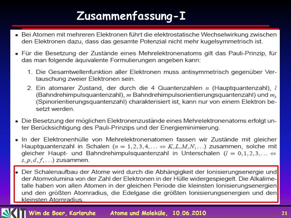 Wim de Boer, Karlsruhe Atome und Moleküle, 10.06.2010 21 Zusammenfassung-I