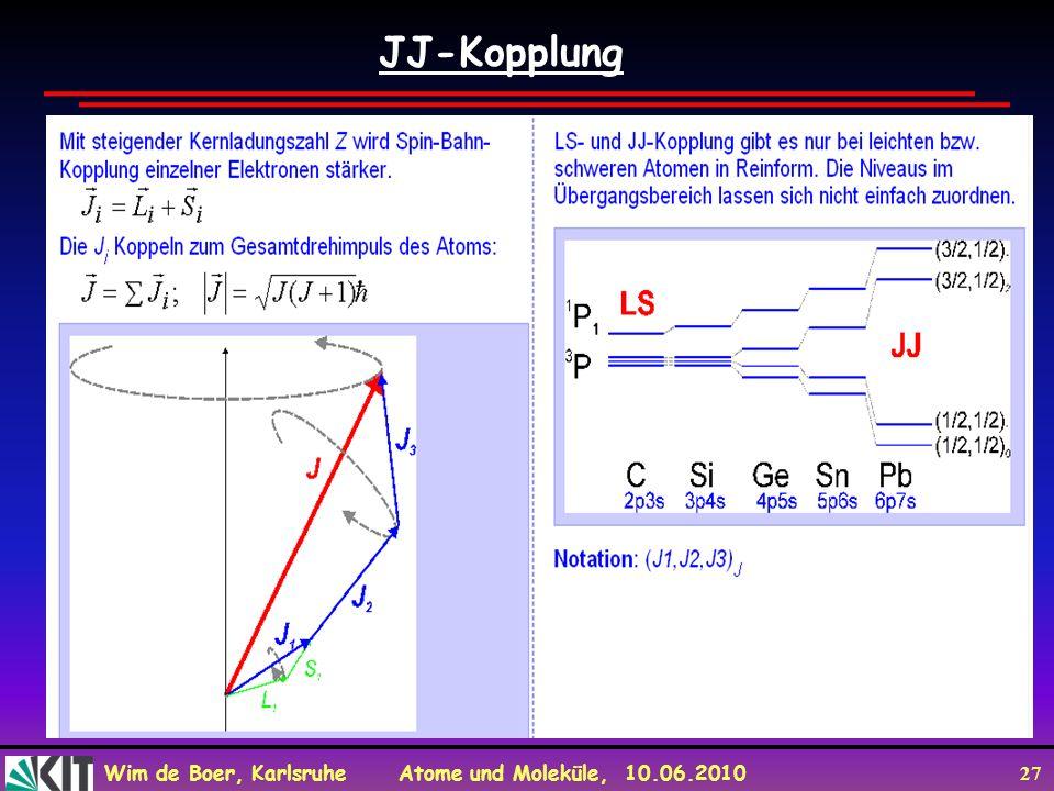 Wim de Boer, Karlsruhe Atome und Moleküle, 10.06.2010 27 JJ-Kopplung