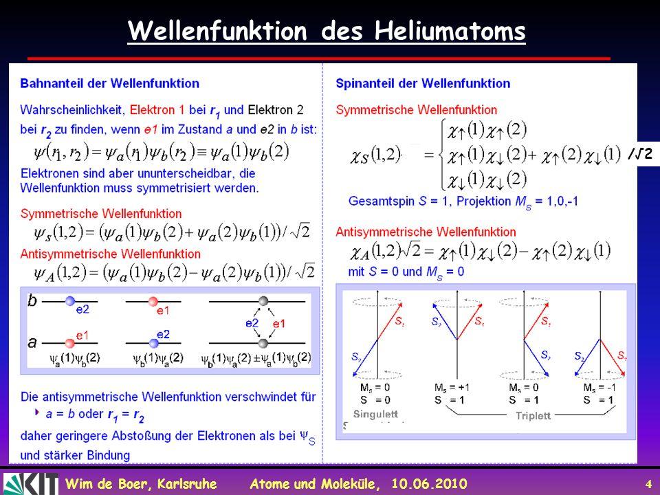 Wim de Boer, Karlsruhe Atome und Moleküle, 10.06.2010 4 Wellenfunktion des Heliumatoms Anti /2