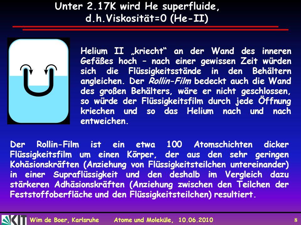 Wim de Boer, Karlsruhe Atome und Moleküle, 10.06.2010 8 Helium II kriecht an der Wand des inneren Gefäßes hoch – nach einer gewissen Zeit würden sich
