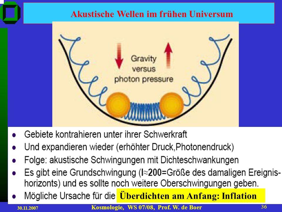30.11.2007 Kosmologie, WS 07/08, Prof. W. de Boer 35 Warum ist die CMB so wichtig in der Kosmologie? a)Die CMB beweist, dass das Universum früher heiß