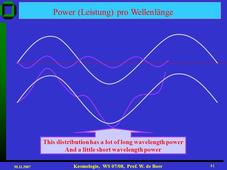 30.11.2007 Kosmologie, WS 07/08, Prof. W. de Boer 40 Structures in 1-D Long-wavelength Short-wavelength Larger amplitude/power smaller amplitude/power