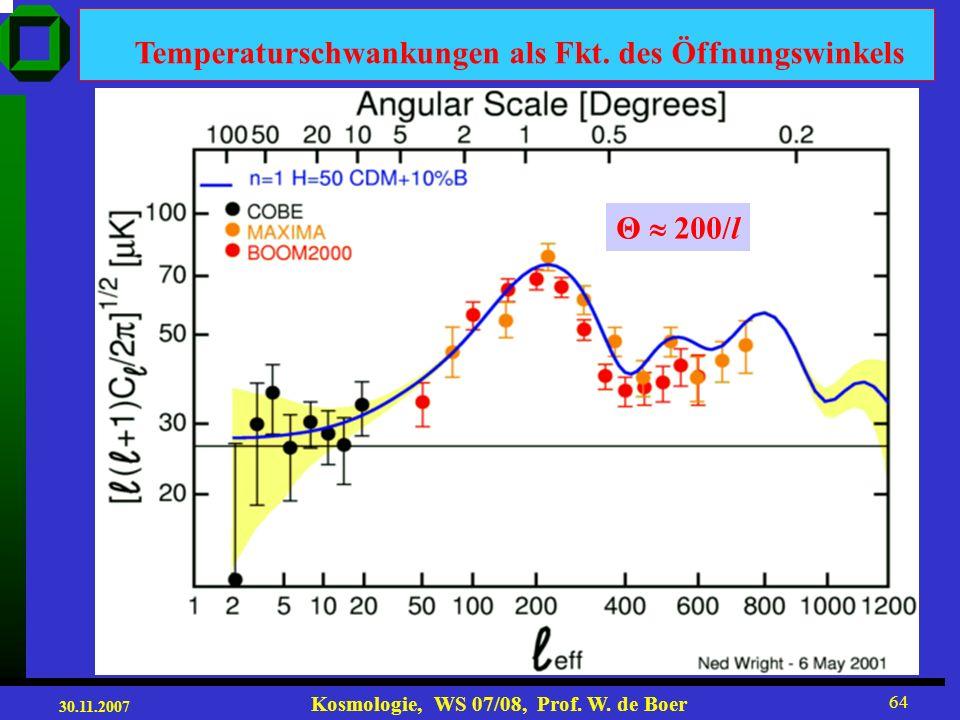 30.11.2007 Kosmologie, WS 07/08, Prof. W. de Boer 63 Das Leistungsspektrum (power spectrum) ω = vk = v 2 /λ