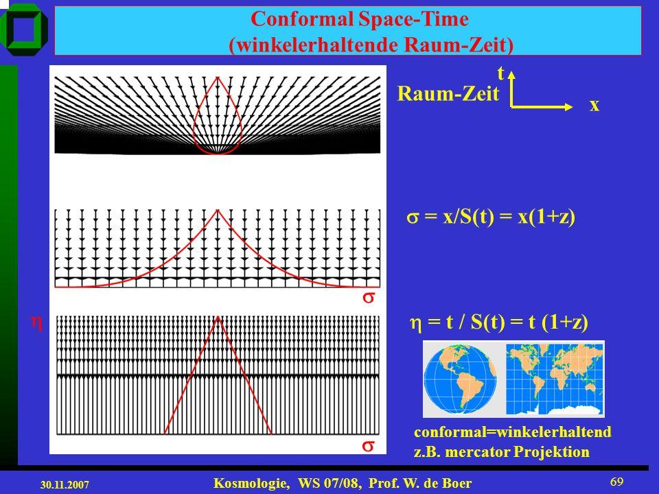 30.11.2007 Kosmologie, WS 07/08, Prof. W. de Boer 68 Position des ersten akustischen Peaks bestimmt Krümmung des Universums!