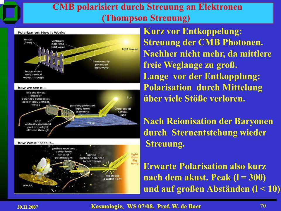 30.11.2007 Kosmologie, WS 07/08, Prof. W. de Boer 69 = x/S(t) = x(1+z) Raum-Zeit x t = t / S(t) = t (1+z) Conformal Space-Time (winkelerhaltende Raum-
