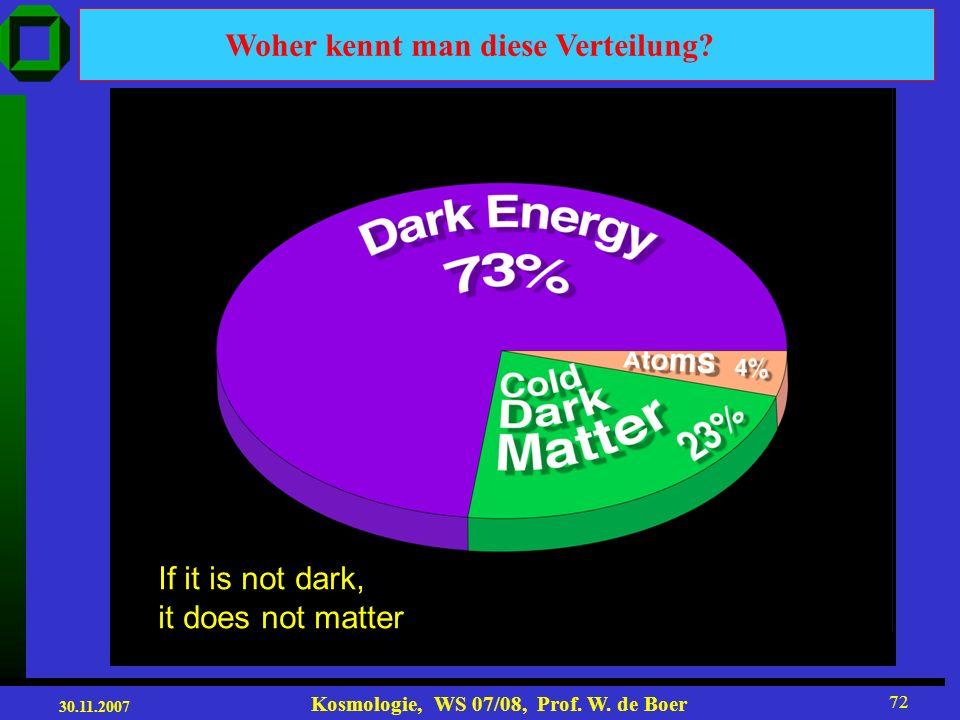 30.11.2007 Kosmologie, WS 07/08, Prof. W. de Boer 71 Entwicklung des Universums