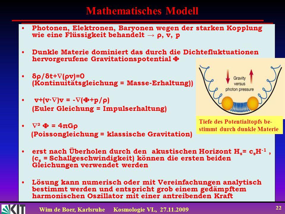 Wim de Boer, KarlsruheKosmologie VL, 27.11.2009 21 Lösung: Druck gering: δ=ae bt, d.h.