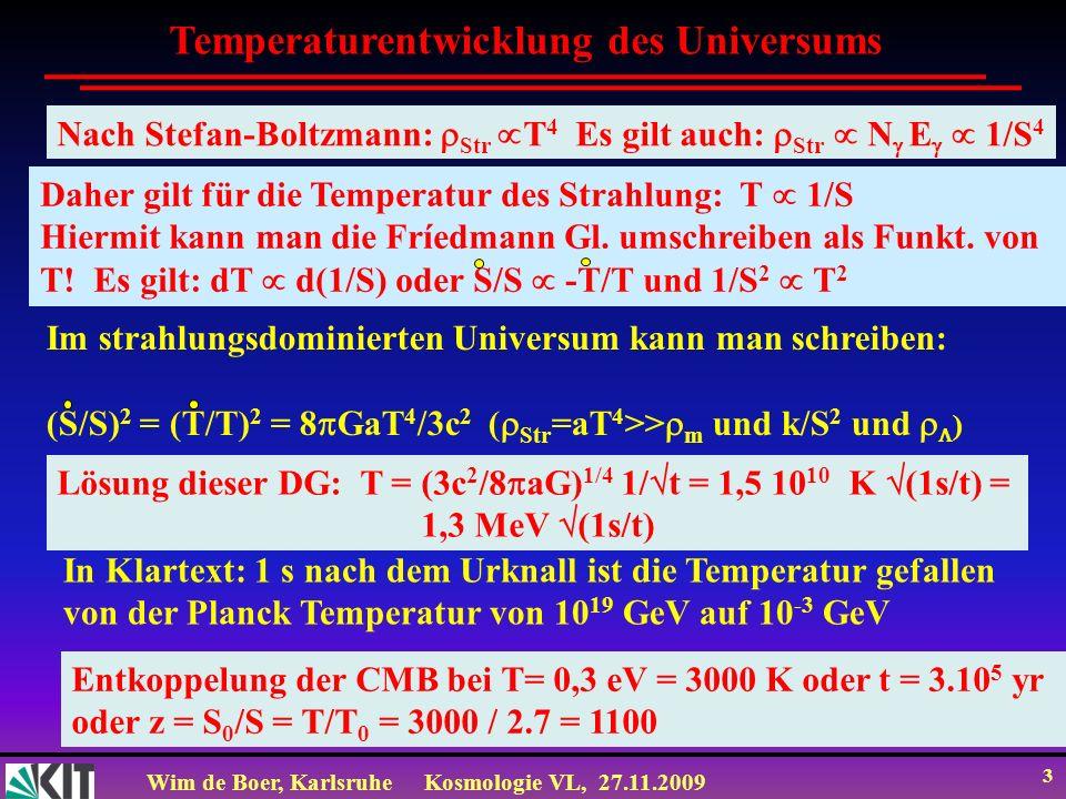 Wim de Boer, KarlsruheKosmologie VL, 27.11.2009 2 Zum Mitnehmen Temperaturentwicklung im frühen Universum: T = (3c 2 /8 aG) 1/4 1/ t = 1,5 10 10 K (1s/t) = 1,3 MeV (1s/t) Nach der Rekombination der Protonen und Elektronen zu neutralem Wasserstoff wird das Universum transparent für Photonen und absolut dunkel bis nach 200 Myr Sterne entstehen (dark ages) Die nach der Rekombination frei entweichende Photonen sind heute noch beobachtbar als kosmische Hintergrundstrahlung mit einer Temperatur von 2.7 K Es gilt: T 1/S für Strahlung und relativ.