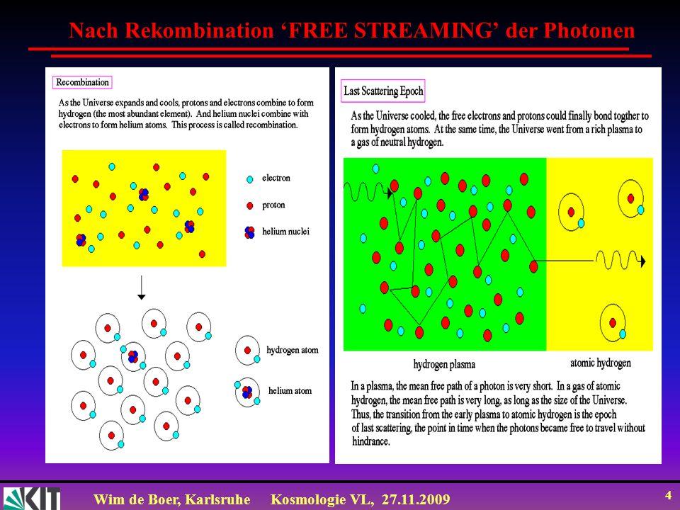 Wim de Boer, KarlsruheKosmologie VL, 27.11.2009 3 Nach Stefan-Boltzmann: Str T 4 Es gilt auch: Str N E 1/S 4 Daher gilt für die Temperatur des Strahlung: T 1/S Hiermit kann man die Fríedmann Gl.