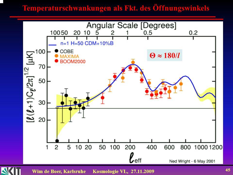 Wim de Boer, KarlsruheKosmologie VL, 27.11.2009 44 Das Leistungsspektrum (power spectrum) ω = vk = v 2 /λ