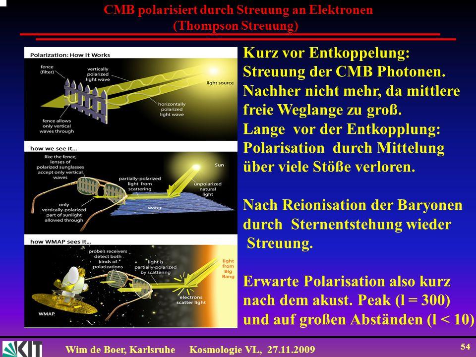 Wim de Boer, KarlsruheKosmologie VL, 27.11.2009 53 = x/S(t) = x(1+z) Raum-Zeit x t = t / S(t) = t (1+z) Conformal Space-Time (winkelerhaltende Raum-Zeit) conformal=winkelerhaltend z.B.