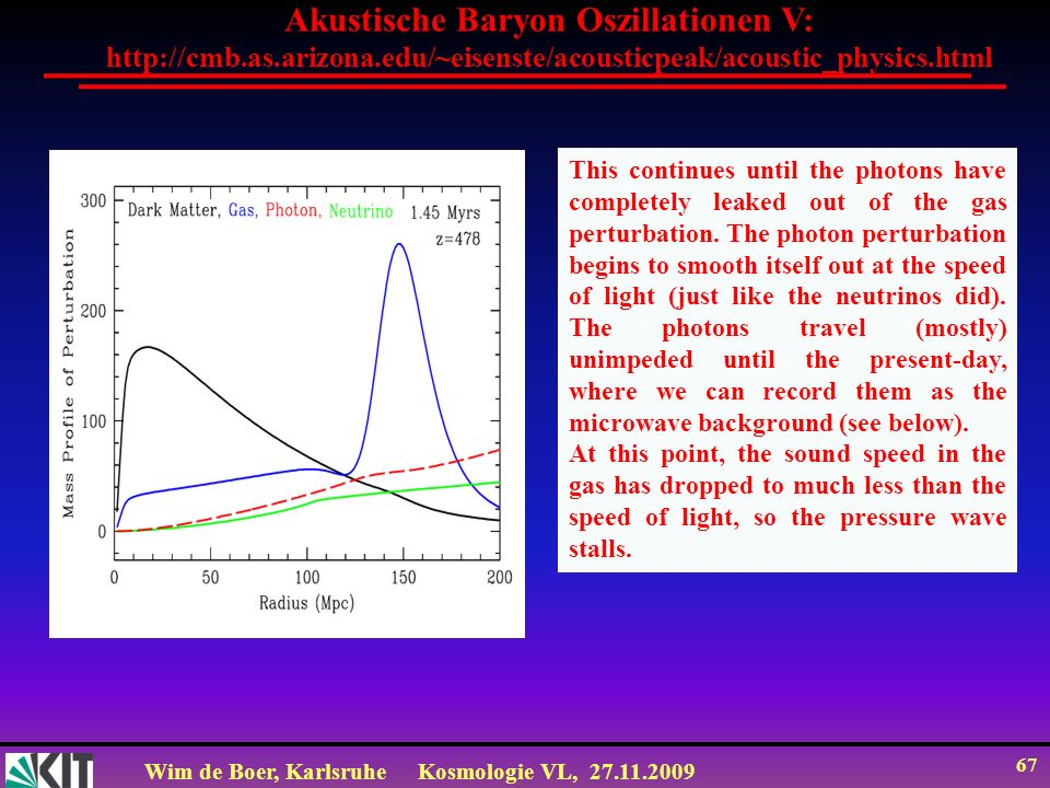 Wim de Boer, KarlsruheKosmologie VL, 27.11.2009 66 Akustische Baryon Oszillationen IV: http://cmb.as.arizona.edu/~eisenste/acousticpeak/acoustic_physics.html The expanding universe is cooling.