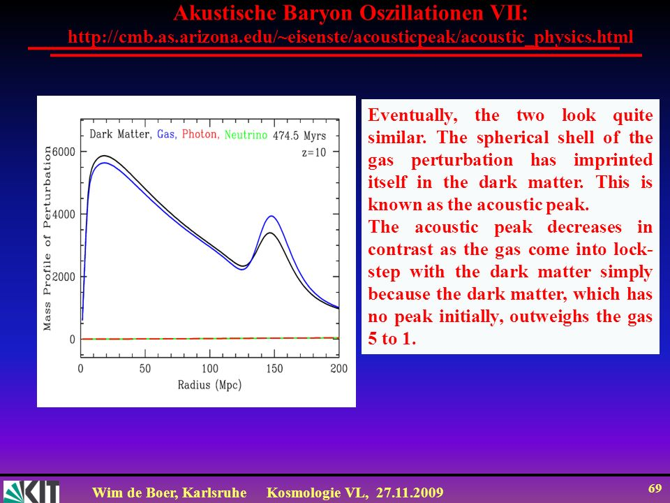 Wim de Boer, KarlsruheKosmologie VL, 27.11.2009 69 Akustische Baryon Oszillationen VII: http://cmb.as.arizona.edu/~eisenste/acousticpeak/acoustic_physics.html Eventually, the two look quite similar.