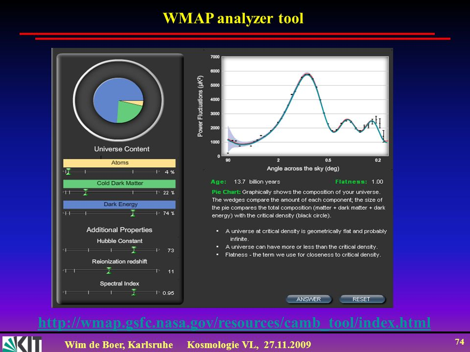 Wim de Boer, KarlsruheKosmologie VL, 27.11.2009 74 http://wmap.gsfc.nasa.gov/resources/camb_tool/index.html WMAP analyzer tool