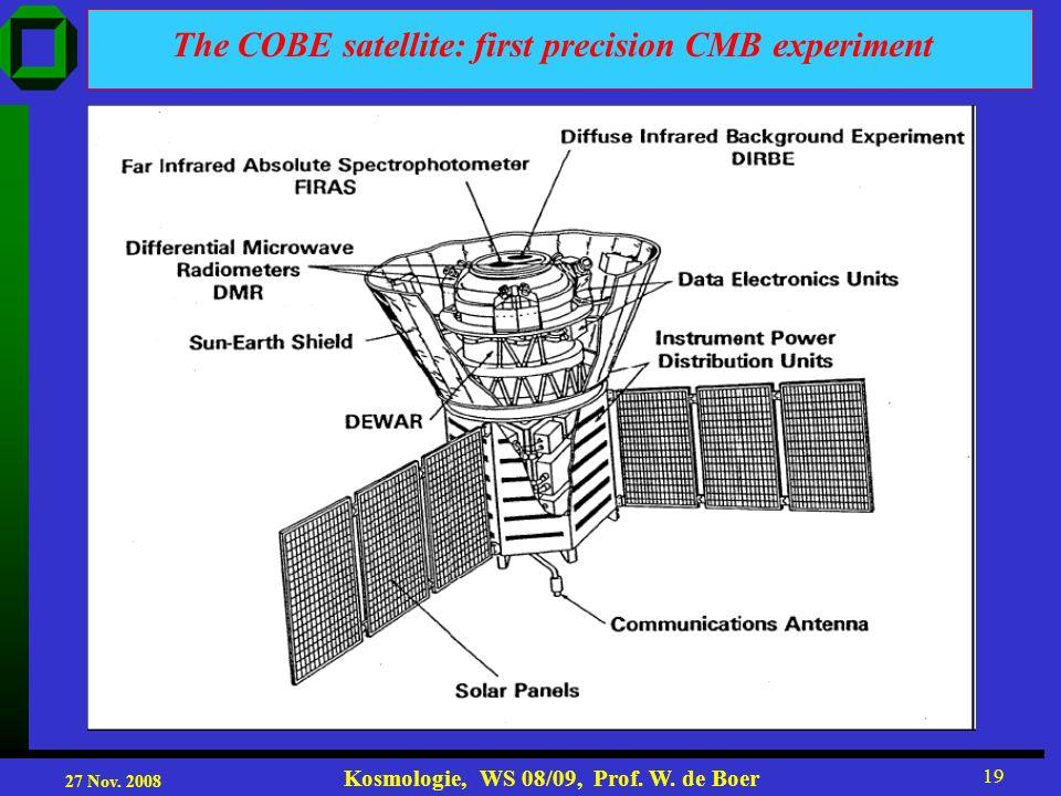 27 Nov. 2008 Kosmologie, WS 08/09, Prof. W. de Boer 19 The COBE satellite: first precision CMB experiment