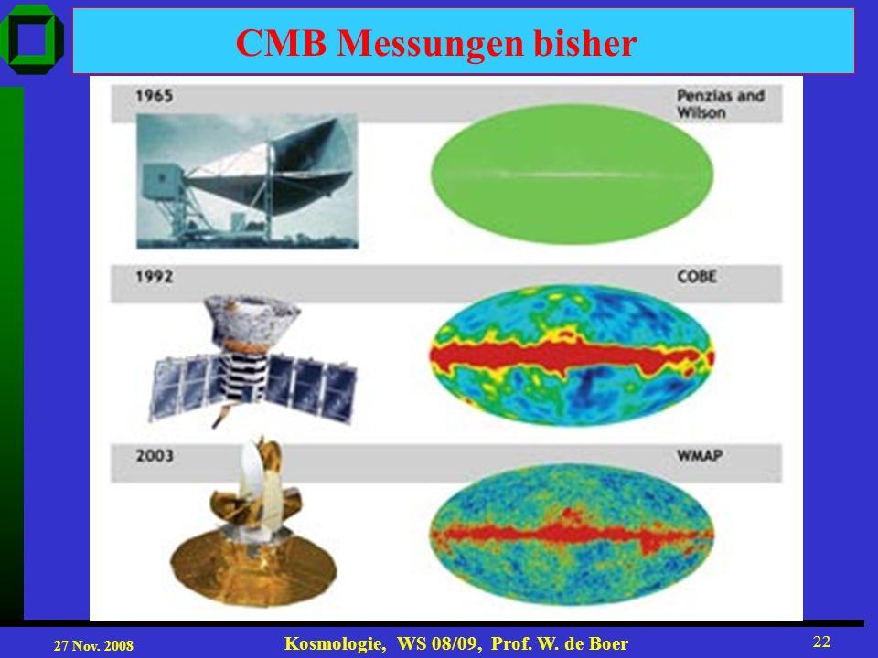 27 Nov. 2008 Kosmologie, WS 08/09, Prof. W. de Boer 22 CMB Messungen bisher